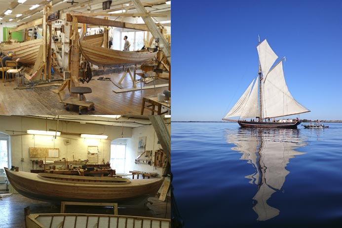 Vackra båtar från Skeppsholmens båtbyggarskola.